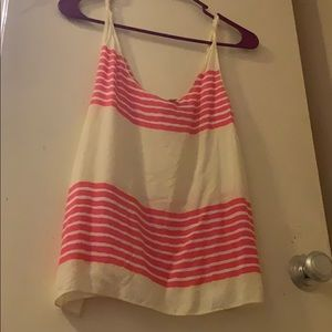 White tank top with pink strips